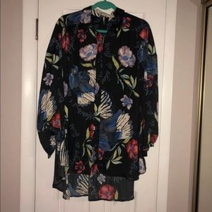 d0b54d7f Free People Tops - Free People Silk Nights Floral Button Down Shirt